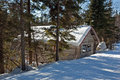Small hut covered by snow Stock Photo