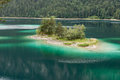 Small idyllic island in the Eibsee near Grainau in Bavaria