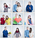 Small images of happy loving marriage reminding old times of youth and first dates Royalty Free Stock Photo