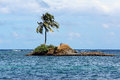 Small island with a coconut palm tree Royalty Free Stock Photo