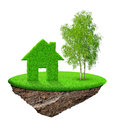 Small island with green house and tree Royalty Free Stock Photo