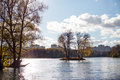 Small island in the middle of a lake in a city park minsk belarus Royalty Free Stock Image