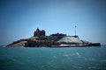 Small island with swami vivekananda memorial mandapam kanyakum Royalty Free Stock Photo