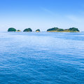 Small islands on sea and blue sky. Toba bay, Japan. Stock Images