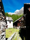 Small mountain village of Alpe devero, Lepontine Alps, summer mo Royalty Free Stock Photo