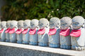 The small japanese jizo statues rows of Royalty Free Stock Images
