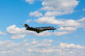 A small jet private jet comes in to land Royalty Free Stock Photo