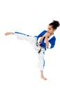 Small kid practicing karate kick Royalty Free Stock Photo