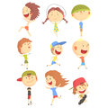 Small Kids Playing And Running, Having Fun On Summer Vacation Outdoors Series Of Cool Cartoon Characters Royalty Free Stock Photo