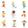 Small Kids Playing Sportive Games And Enjoying Different Sports Exercises Outdoors And In Gym Set Of Cartoon Royalty Free Stock Photo