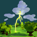 Small landscape with flash, lightning and storm Royalty Free Stock Photo