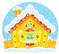 Small log hut in snow rustic house covered with on christmas Royalty Free Stock Photography