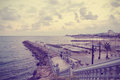 Small marina in the Spanish seaside resort Sitges; retro Instagram style Royalty Free Stock Photo