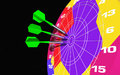 Small missiles in a colorful dartboard