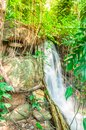 Small mountain waterfall in the tropical jungle, Selective focus Royalty Free Stock Photo