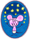 Small mouse and yellow stars pink in white shorts with polka dots juggles on a dark blue background of the sky Royalty Free Stock Photos