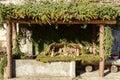 Small nativity scene in wash house at Crodo, Ossola Royalty Free Stock Photo