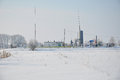 Small natural gas plant in Siberia. Low natural gas prices and growth in natural gas power generation infrastructure Royalty Free Stock Photo
