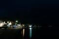 Small New Zealand coastal town main street at dusk, Mangonui