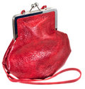 Small old-fashioned red leather lady's bag Royalty Free Stock Image