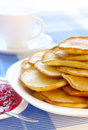 Small pancakes - traditional Russian cuisine Royalty Free Stock Photos