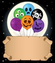 Small parchment and Halloween balloons 2 Royalty Free Stock Photo