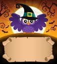 Small parchment and Halloween owl 1 Royalty Free Stock Photo
