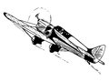 Small passenger airplane in flight vintage style vector illustration Stock Photography