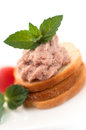 Small pate sandwich wholemeal bread with and vegetables Royalty Free Stock Images