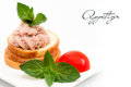 Small pate sandwich wholemeal bread with and vegetables Stock Photos