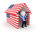Small person under American flags. Stock Photos