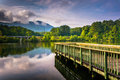 Small pier and view of Table Rock at Lake Oolenoy, Table Rock St Royalty Free Stock Photo