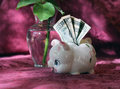 Small piggy bank with twenty dollars and a beautiful rose in the background Royalty Free Stock Photo