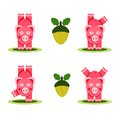 Small pigs playing funny joking vector illustration eps no effects Stock Photos