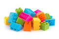 Small pile of colorful childrens building bricks Stock Photo