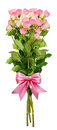 Small pink rose flowers bouquet and a ribbon bow Royalty Free Stock Photo