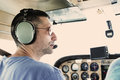 Small plane pilot a flying a cessna aircraft Stock Photo