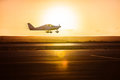 Small plane on the runway Royalty Free Stock Photo