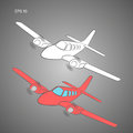 Small plane vector illustration. Twin engine propelled aircraft. Vector illustration. Hand drawn sketch style Royalty Free Stock Photo