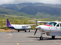 Small planes at exotic airport Royalty Free Stock Photo
