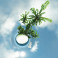 Small planet, ocean, tropical island, palm trees 3d rendering Royalty Free Stock Photo