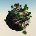 Small planet with trees rocky Royalty Free Stock Photo