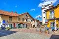 Small plaza in italian town of Barolo. Royalty Free Stock Photo
