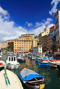 Small port in camogli italy harbor with fishing boats famous town liguria Royalty Free Stock Photo