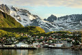 Small port in a Norwegian fjord Royalty Free Stock Photo