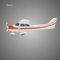 Small private plane vector illustration. Single engine propelled aircraft. Vector illustration. Icon. Sideview
