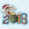 A small puppy is holding a New Year date 2018