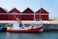 Small, red fishing boat Royalty Free Stock Photo