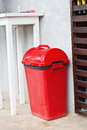 Small red garbage bin Royalty Free Stock Images