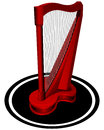 Small red harp vector illustration of on white Royalty Free Stock Image